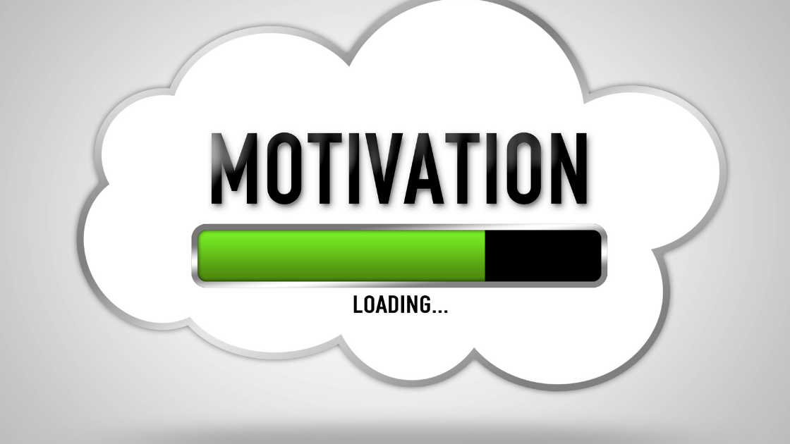 motivation text in cloud with charging bar